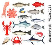 seafood collection. fish and... | Shutterstock .eps vector #701367286