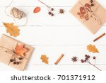 autumn composition. gift ... | Shutterstock . vector #701371912