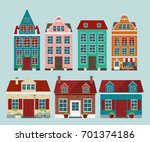 set of european colorful old... | Shutterstock .eps vector #701374186