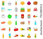 meal icons set. cartoon style... | Shutterstock .eps vector #701380312