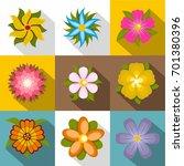 blossom icons set. flat set of... | Shutterstock .eps vector #701380396