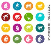 monkey types icons many colors... | Shutterstock .eps vector #701381182