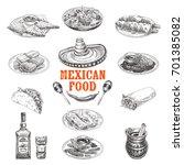 vintage vector hand drawn set.... | Shutterstock .eps vector #701385082