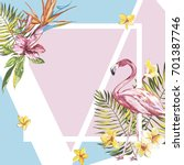 banner  poster with flamingo ... | Shutterstock .eps vector #701387746