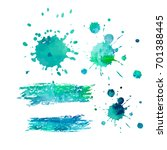 set of colorful blue blots....   Shutterstock .eps vector #701388445
