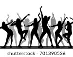 silhouettes of dancing girls.... | Shutterstock .eps vector #701390536