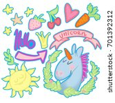 set of stickers funny unicorn   Shutterstock . vector #701392312