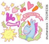 set of stickers funny unicorn   Shutterstock . vector #701392336