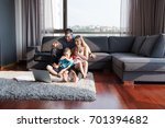happy young family playing... | Shutterstock . vector #701394682