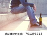 man depressed with wine bottle... | Shutterstock . vector #701398315
