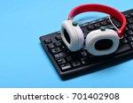 earphones in red and white... | Shutterstock . vector #701402908