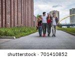 group of friends walking... | Shutterstock . vector #701410852