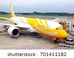 Small photo of Chiba, JP - AUGUST 20, 2017: The Boeing airplane of Nok Scoot airlines stopping in Narita International Airport.