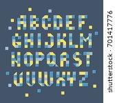 pixel alphabet  retro colorful... | Shutterstock .eps vector #701417776