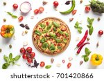 flat lay with italian pizza on... | Shutterstock . vector #701420866