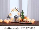 trendy christmas interior... | Shutterstock . vector #701423032
