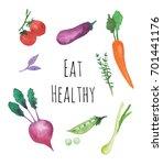 watercolor vegetables set... | Shutterstock . vector #701441176