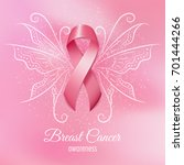 breast cancer pink ribbon with... | Shutterstock . vector #701444266