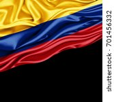 colombia flag of silk with... | Shutterstock . vector #701456332