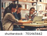 group of  female students study ... | Shutterstock . vector #701465662