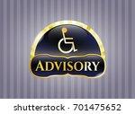 golden emblem with disabled ... | Shutterstock .eps vector #701475652