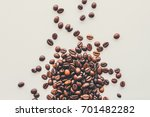 coffee beans on a light...   Shutterstock . vector #701482282