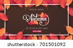 autumn sale background layout... | Shutterstock .eps vector #701501092
