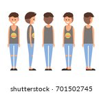front  side  back view animated ... | Shutterstock .eps vector #701502745