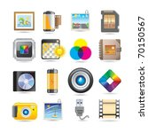 photography icon set - stock vector