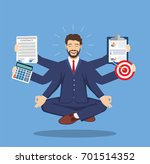 businessman with multitasking... | Shutterstock .eps vector #701514352