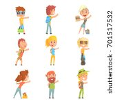 young tourist people wearing... | Shutterstock .eps vector #701517532