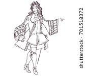 stylized outline portrait of an ...   Shutterstock .eps vector #701518372