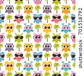 pattern with colorful funny... | Shutterstock .eps vector #701518792