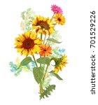 bouquet autumn flowers  yellow... | Shutterstock .eps vector #701529226