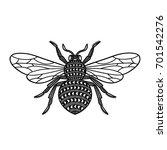 honey bee. black and white... | Shutterstock .eps vector #701542276