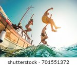 happy friends diving from... | Shutterstock . vector #701551372