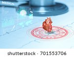 Heart And Stethoscope On Graph...
