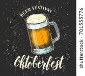 vector hand drawn glass of beer.... | Shutterstock .eps vector #701555776
