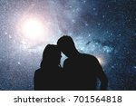 silhouettes of a young couple... | Shutterstock . vector #701564818