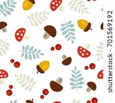 seamless autumn pattern with...   Shutterstock .eps vector #701569192