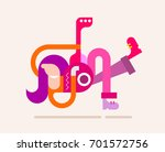 cheerful man with long hair... | Shutterstock .eps vector #701572756