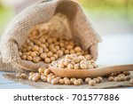 close up of soy bean in wood... | Shutterstock . vector #701577886