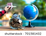 travel money savings in a glass ... | Shutterstock . vector #701581432
