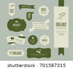 set of natural label and... | Shutterstock .eps vector #701587315