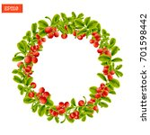 wreath of berries and leaves of ... | Shutterstock .eps vector #701598442