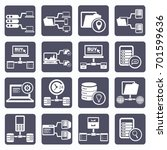 database server icon set vector | Shutterstock .eps vector #701599636