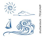 Boat waves, clouds and sun. Vector illustration on white - stock vector