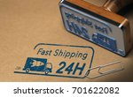 rubber stamp and carton box... | Shutterstock . vector #701622082