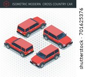 isometric red croos country car.... | Shutterstock .eps vector #701625376