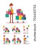 family shopping on white... | Shutterstock .eps vector #701633752